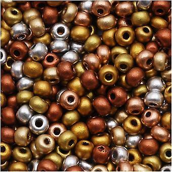 Czech Glass Seed Beads, 6/0 Round, 1 Ounce, Supra Metallic Mix