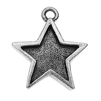 Nunn Design Mini Bezel Pendentif, Star 16x18.5mm, 1 Pièce, Argent Antiqued