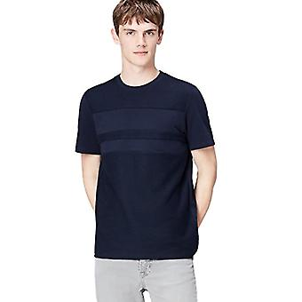 Amazon brand - find. T-Shirt with Contrasting Panels Men's, Blue (Navy), L, Label: L