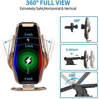 FengChun Supporto Caricabatteria Wireless per Auto con Bloccaggio Automatico, 2 in 1 Qi 15W/10W/7.5W
