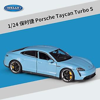1:24 Porsche Taycan Turbo S sports car simulation die casting alloy car model(Blue)