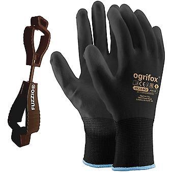 24 Paar Ogrifox PU besichtet Arbeitshandschuhe mit  Handschuh-Klammer (M-8, Schwarz)