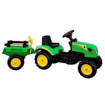 Traktor gokart pótkocsival és lapáttal - zöld