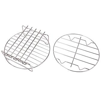 For 2pcs Air Fryer Double Rack Kitchen Tools for 4.2-6.8QT 8 Inch Silver WS929
