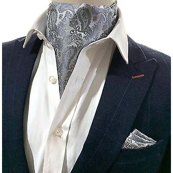 Harmaa & hopea paisley cravat & pocket neliösetti