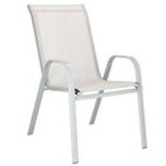 Trädgårdsstol grå med grädde - textileen seat - upp till 130 kg