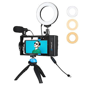 Puluz bluetooth handheld rabbit cage photography live kit camera handheld stabilizer with ring fill light microphone tripod