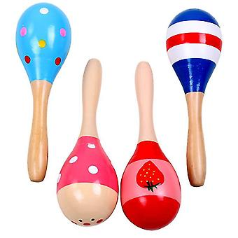Wooden color cartoon sand hammer Toy For Toddlers(L 20cm)