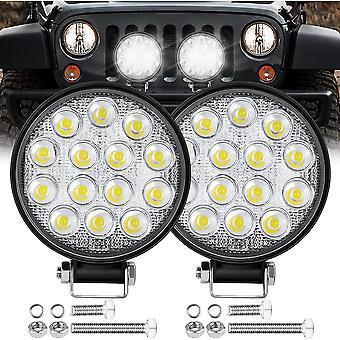 ミニ LED ワーク ライト ラウンド スポットライト 42w カーワーク ヘッドライト オフロード フォグ ライト ランプ