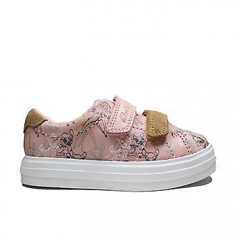 Clarks Nova Craft Toddler Disney Bambi Themed Pink Combi Leather Girls Rip Tape Shoes
