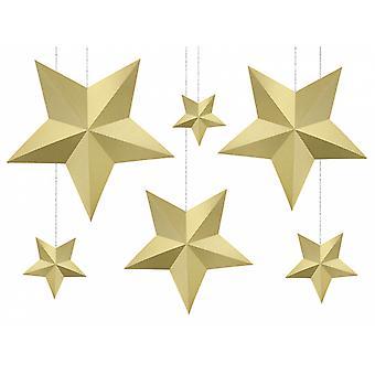 6 paperi 3D-tähdet joulukodin sisustussentti | kulta