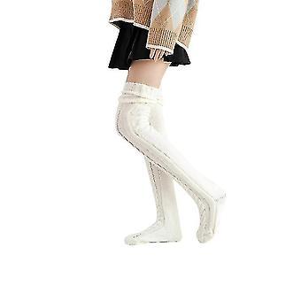 Women's Knitted Socks Over The Knee Long Tube Lengthened Pile Socks(Beige)