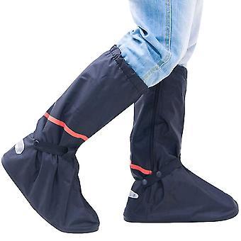 Sapato impermeável cobre botas altas reutilizáveis Galoshes Capas de Sapato de Chuva (L)(Preto)