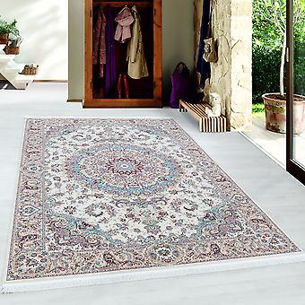 Teppich Orient Medaillon Muster Kurzflor Ivory