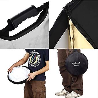 Selens Portable Handle Round Reflector Collapsible Multi Photography Photo Studio Lighting, 5-in-1 43 Inch (110cm)