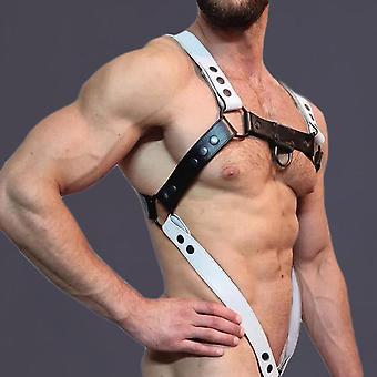 Miehet Musta Valkoinen Tekonahka Metalli Renkaat Body Chest Miesten Puku Seksikäs