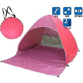 Bärbar automatisk pop up beach baldakin sol UV skugga skydd utomhus camping tält utomhus (rosa)