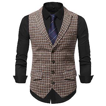 Allthemen Men's Classic Plaid Stitching Single-breasted Vest Formal Vest