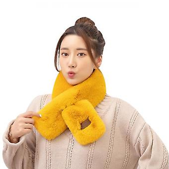 Winter Scarves Women Faux Fur Collar Plush Shawl Solid Color Thick