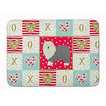 Bath mats rugs old english sheepdog love machine washable memory foam mat