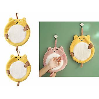 2pcs Soft Coral Samt Handtuch Cartoon Katze Candy Farbe Tier Taschentuch kann in der Küche aufgehängt werden