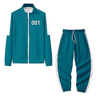 Squid Game Jacket Pantaloni Cosplay Sport Fermoar Cardigan Digital 001 Imprimare Buzunar Sweatshirts Set