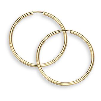 """14K Gold Hoop Earrings - 1"""" diameter (2mm thickness)"""