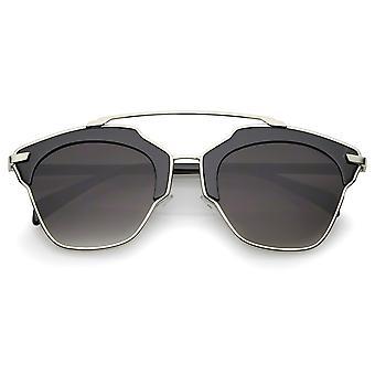 High Fashion Two-Toned Pantos Crossbar Neutral-Colored Lens Aviator Sunglasses 52mm