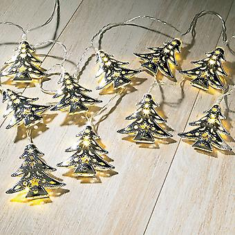 Sentik árvore de Metal prata interior String grinalda com 15 quente LED branco