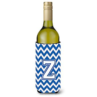 Letter Z Chevron Blue and White Wine Bottle Beverage Insulator Hugger