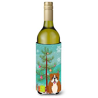 Merry Christmas Tree English Bulldog Red White Wine Bottle Beverge Insulator Hug