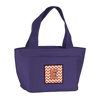 Letter E Chevron Orange and Regalia Lunch Bag