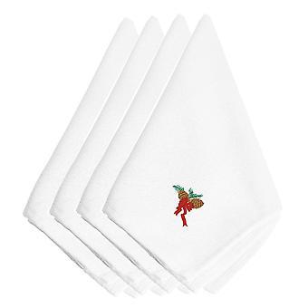 مخاريط الصنوبر عيد الميلاد مع الشريط الأحمر مطرزة المناديل مجموعة 4
