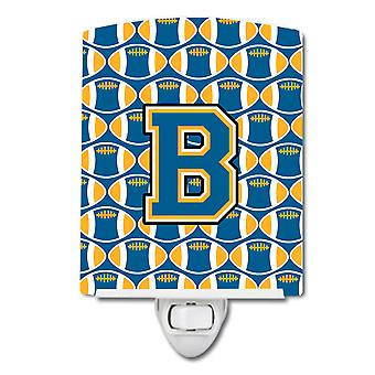 Letter B Football Blue and Gold Ceramic Night Light