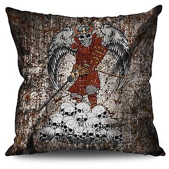 Katana Skeleton Skull Linen Cushion 30cm x 30cm | Wellcoda