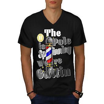 Barber Shop Haircut Funny Men BlackV-Neck T-shirt | Wellcoda