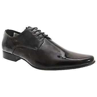 Goor Mens Patent Leather Lace-Up Chisel Toe Gibson Dress Shoes