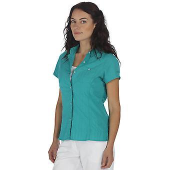 Regata das mulheres/senhoras Jerbra curto manga camisa de botão de algodão