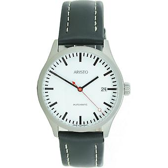 Aristo men's watch automatic stainless steel train station 3 H 191 leather