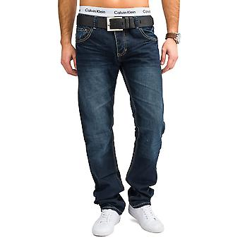 Men Slim Fit Jeans Pants Blue Stone-Washed Straight Leg Wash W34 - W44