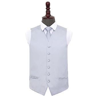 Silver Plain Satiini liivi & solmio asetettu