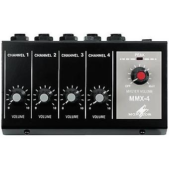 Monacor MMX-4 4-kanaals microfoon mixer