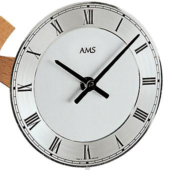 AMS table clock pendulum clock quartz clock with pendulum solid beech aluminium dial