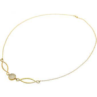 Ladies - collana - ciondoli - INFINITY - argento 925 - oro - quarzo - 55 cm - bianco DRUZY-