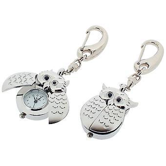 Cadeau tijd producten Owl Open Wing klok Key Ring - Zilver