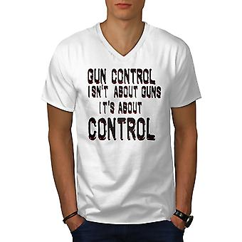 Amendment Guns Men WhiteV-Neck T-shirt | Wellcoda