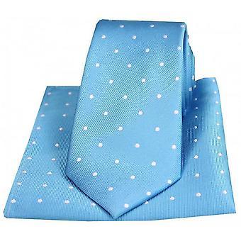 Дэвид ван Хаген горошек галстук и карманные площади набор - синий/белый