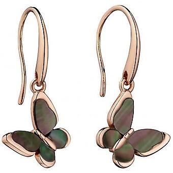 Elemente Silber Schmetterling Slider Mutter der Perle Ohrringe - Schwarz/Pink-Gold