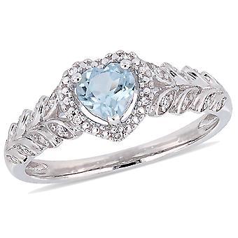 1/2 Carat (ctw) Sky Blue Topaz Heart Promise Ring in 10K White Gold