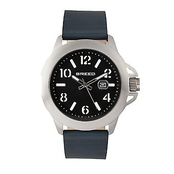Breed Bryant Leather-Band Watch w/Date - Silver/Black
